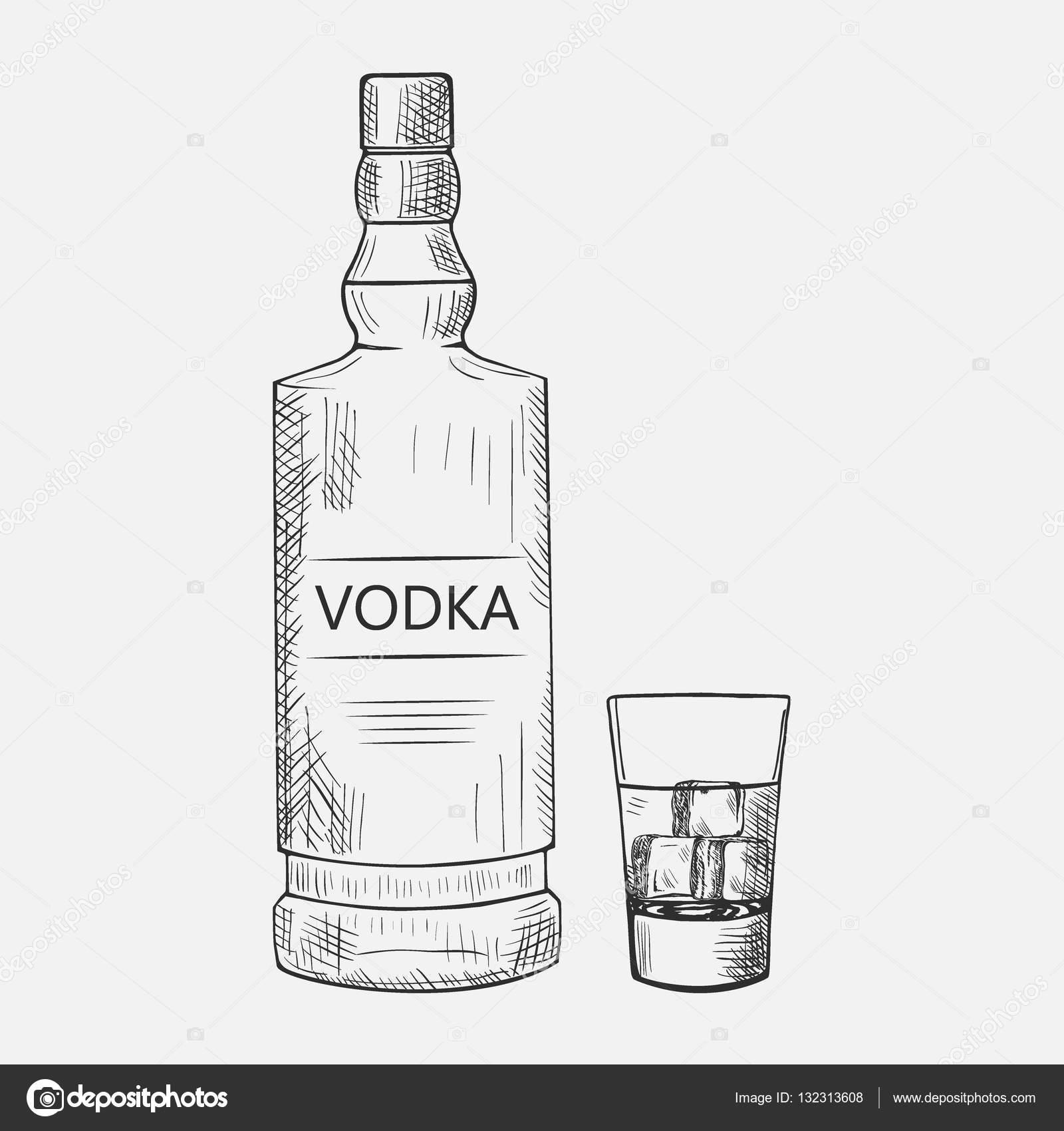 Handgezeichneten Satz von Wodka-Elementen. Vektor-Illustration ...