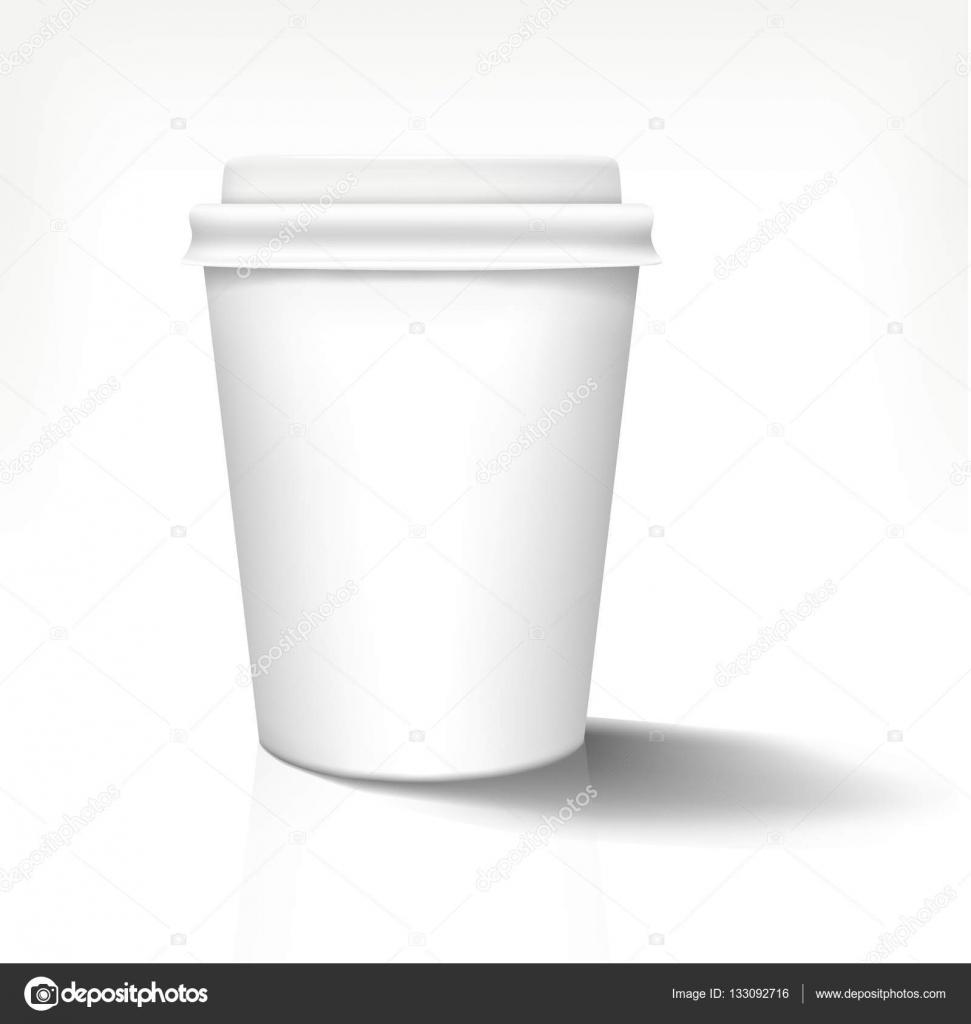 白色の現実的な紙カップ前に白いカバーです。ベクトルの図。手作りの完全