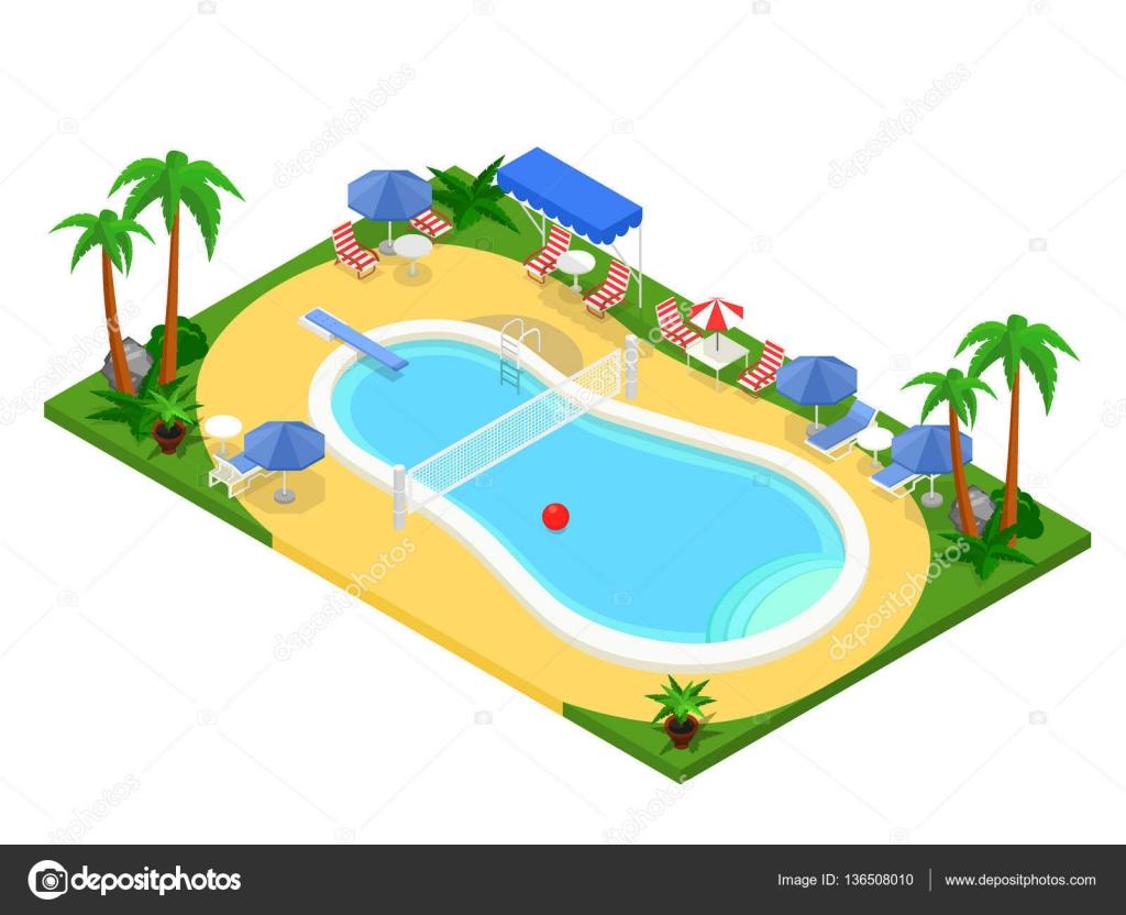 realista isométrica piscina al aire libre. 3d creative vector