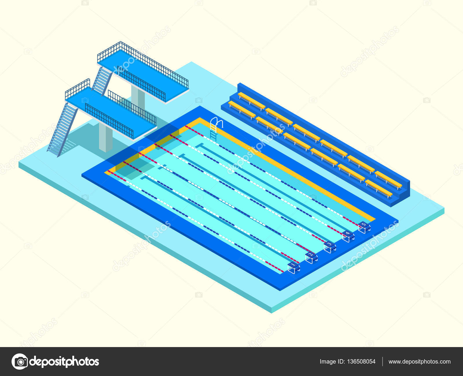 piscina de deporte isométrico realista. 3d creative vector