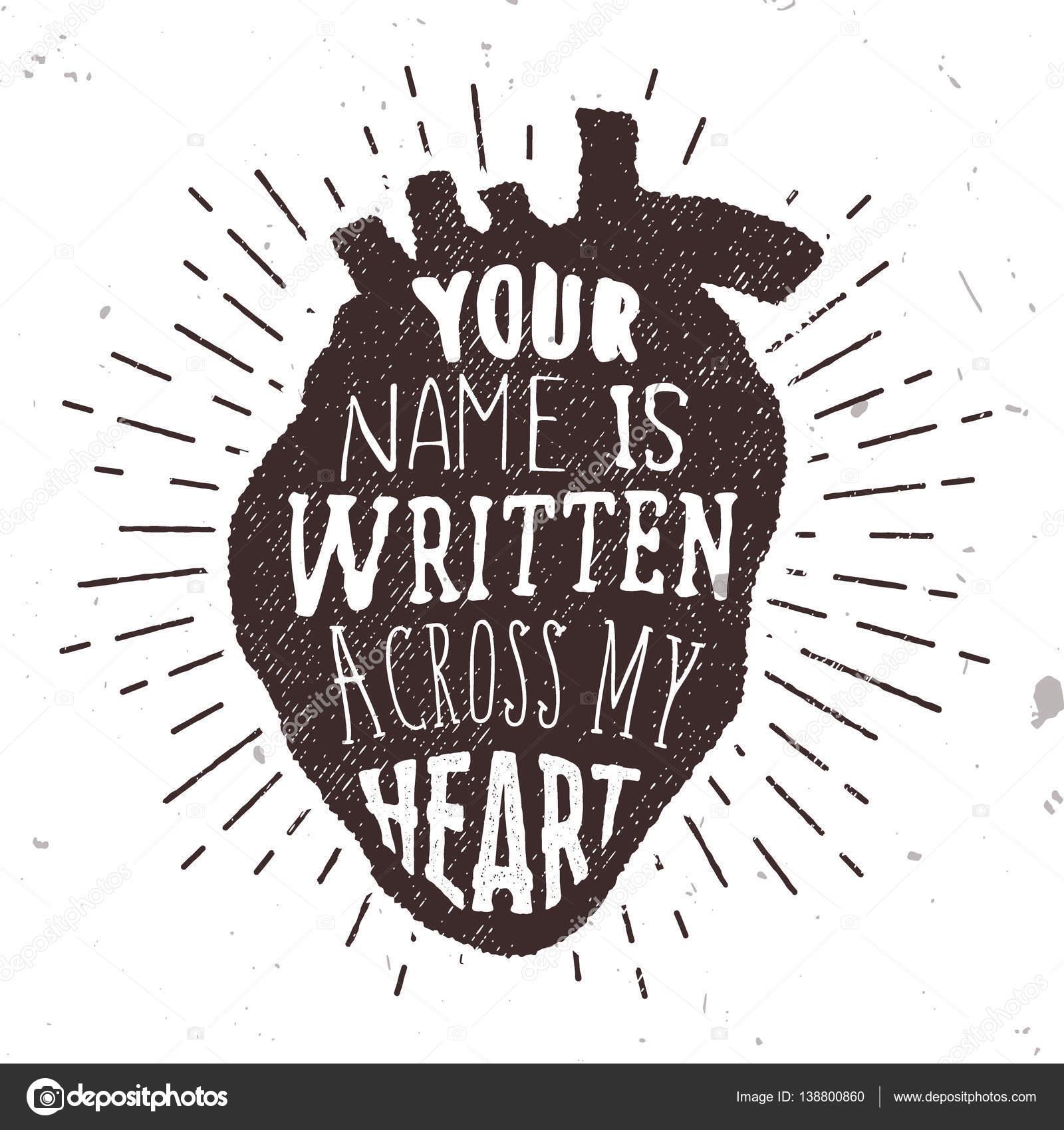 Cartel romántico con corazón humano el amor silueta y texto ...