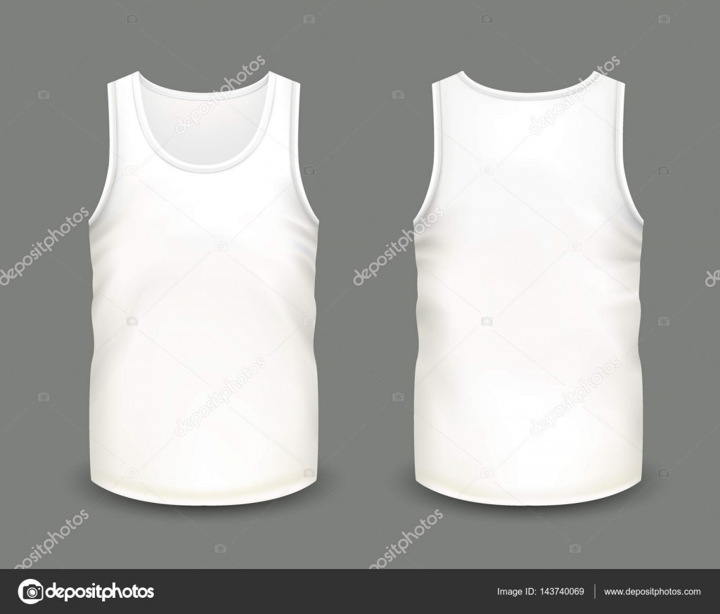 Mens white sleeveless tank in front and back views vector mens white sleeveless tank in front and back views vector illustration with realistic male shirt template fully editable handmade mesh pronofoot35fo Image collections