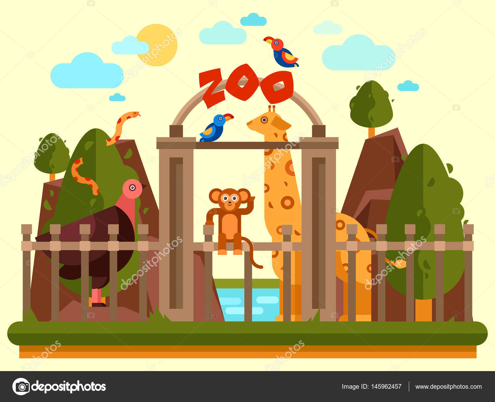 Colourful View Of The Zoo Entrance With Animals And Beautiful