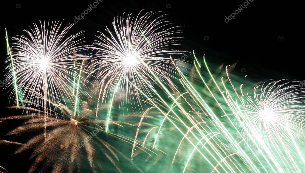 Beautiful fireworks illuminate the sky
