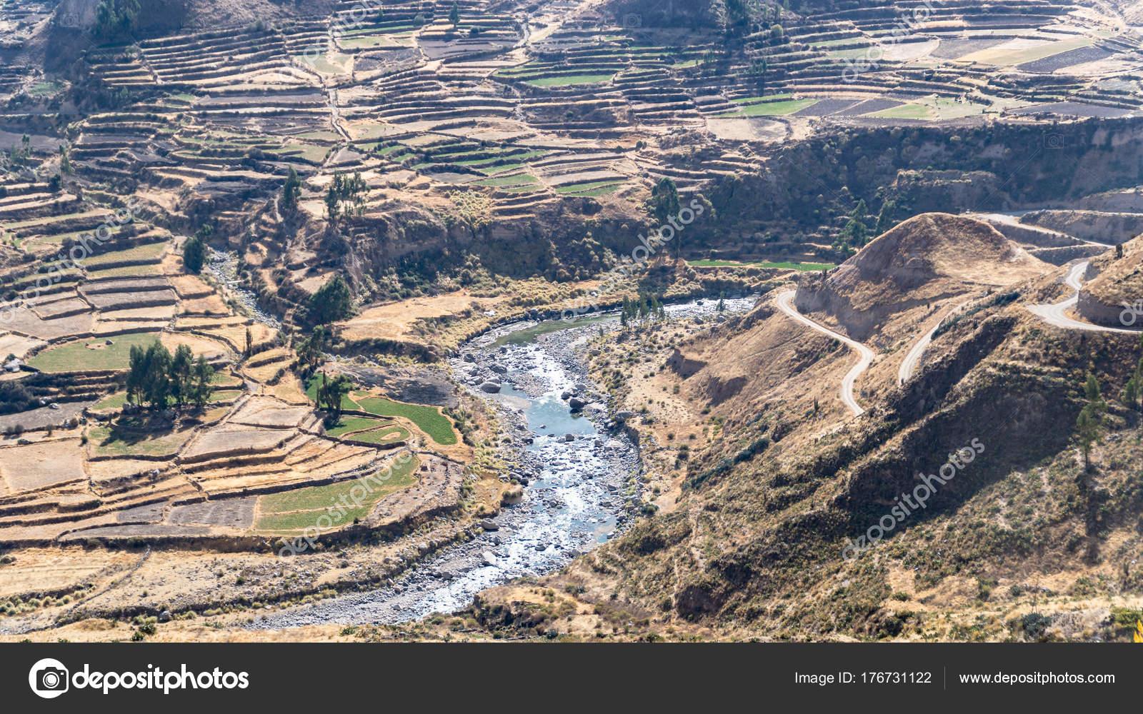 Vista Panorámica Del Cañón Del Colca Perú América Del Sur
