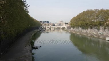 Rome, Italy - March 2017: View of the Tiber river passing through Rome, Italy