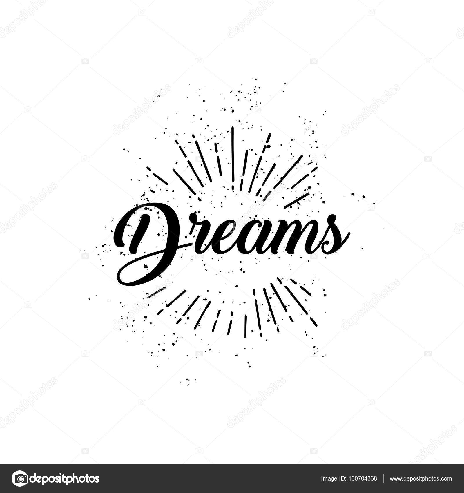 Dreams Word And Sun Rays Hand Drawn On A White Background Linear Drawing Stock