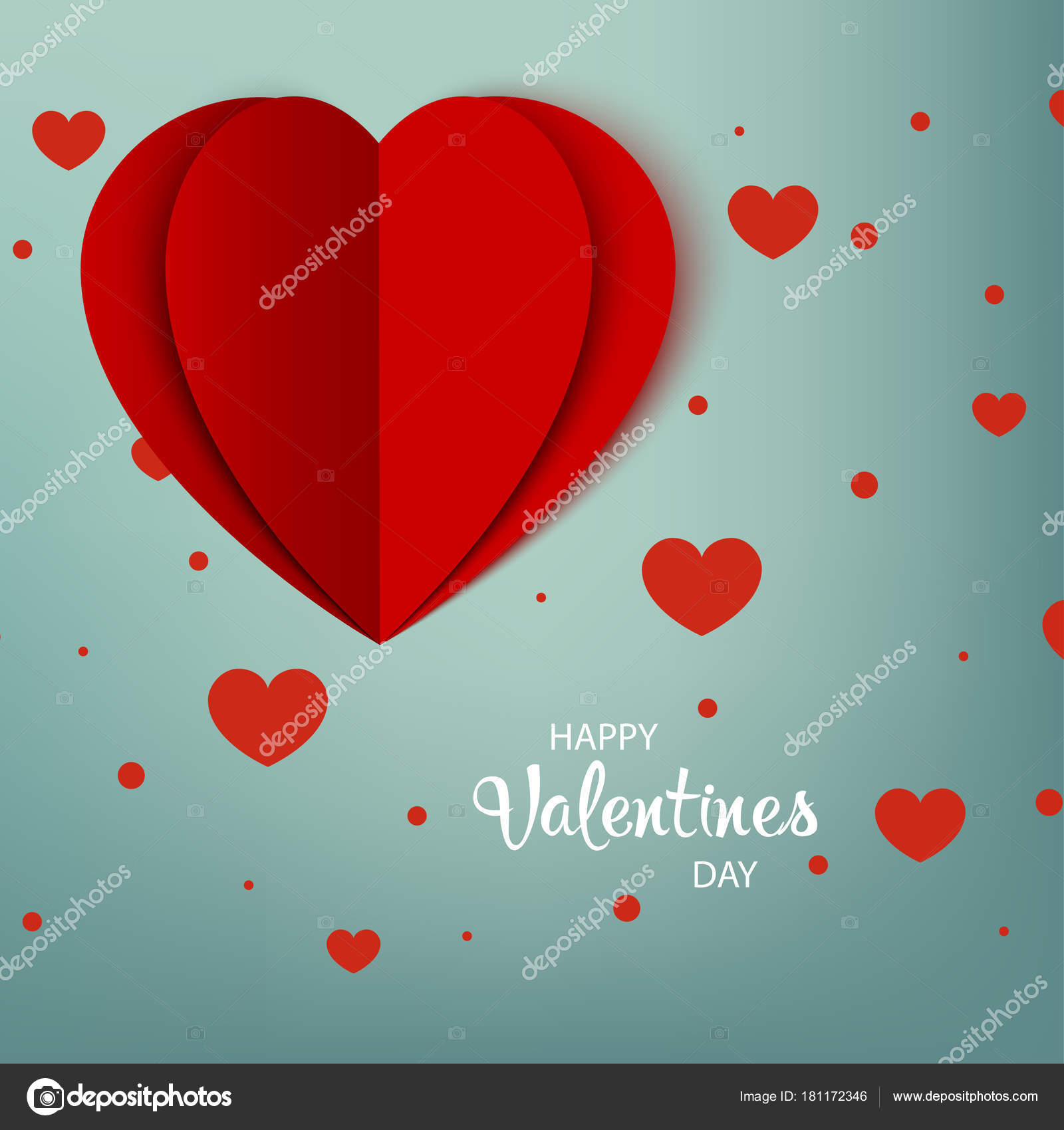 Happy Valentines Day. Gruß Card rotes Papier Herz mit Schatten auf ...