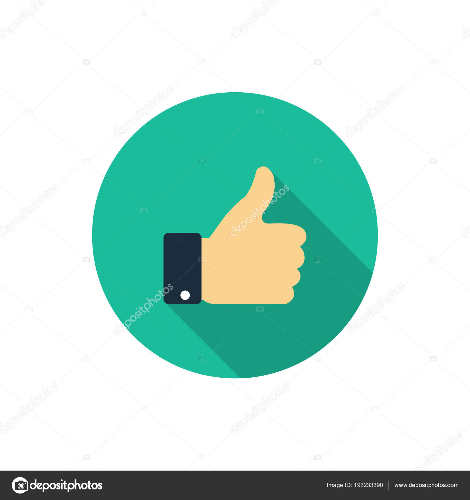 Flat Like Icon Thumb Up Symbol With Shadow Finger Up Stock