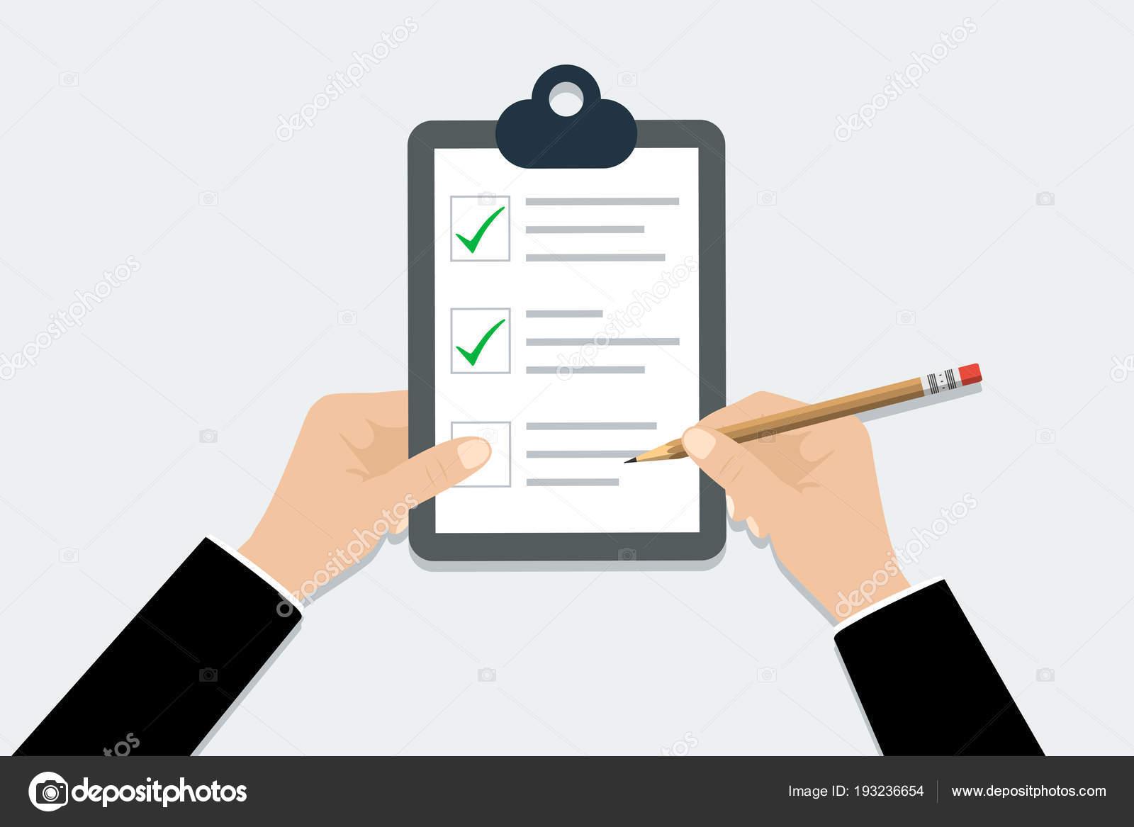 5ccf51934 Lista de verificación - ilustración vectorial. Mano lista de chequeo del  Portapapeles con el lápiz