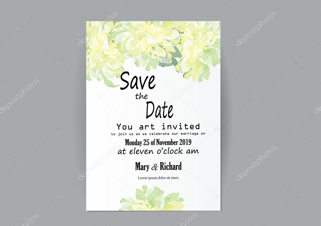 Set Of Wedding Invitation Card Flowers Abstract Flower Card For