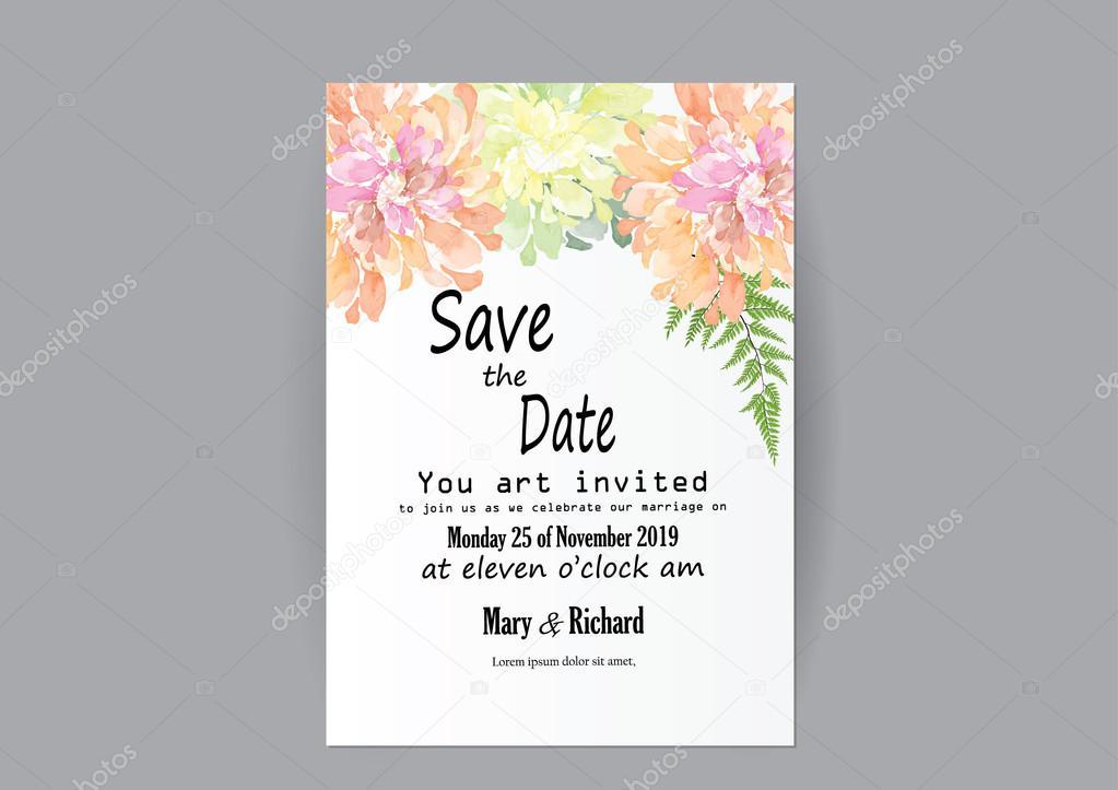 Ensemble De Fleurs De Carte Invitation Mariage Carte De Fleurs