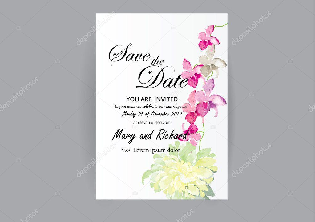 Satz Von Hochzeit Einladung Karte Blumen, Abstrakte Blumenkarte Für Objekt  Oder Karte Background.art