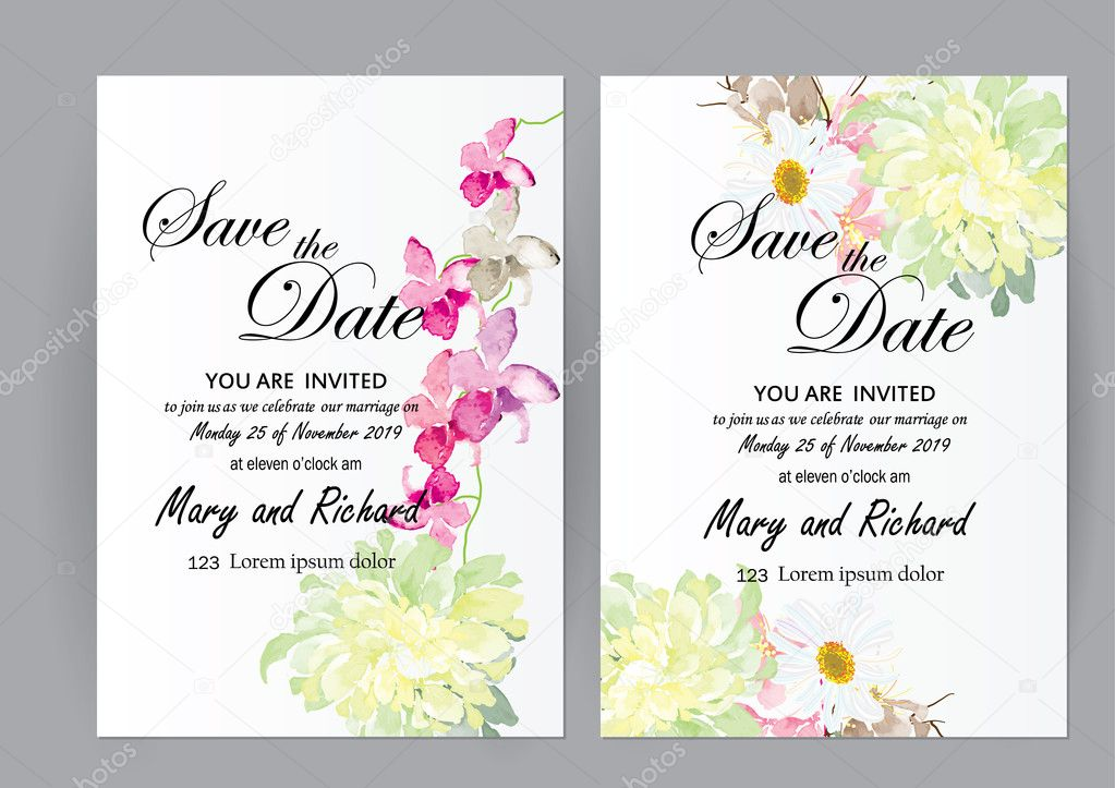 Set of wedding invitation card flowersabstract flower card for set of wedding invitation card flowersabstract flower card for object or card background stopboris Gallery