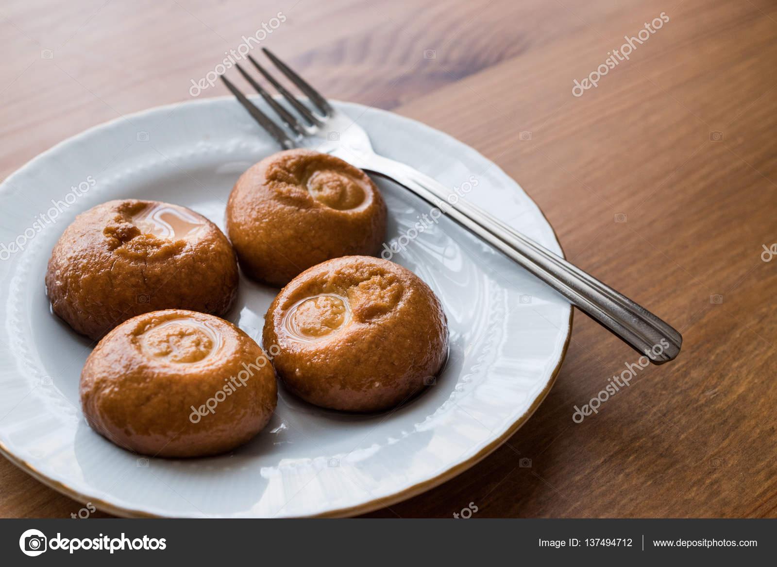Turkisches Dessert Sekerpare Kleine Kuchen Mit Sorbet Sirup