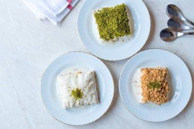 Turkish Milk Dessert Sutlava made with Gullac and Dairy Baklava Dough.