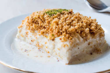 Turkish Milk Dessert Sutlava made with Gullac and Dairy Baklava Dough.