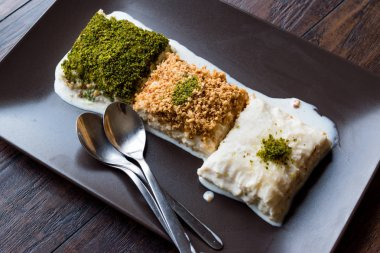 Turkish Milk Dessert Sutlava made with Gullac and Dairy Baklava