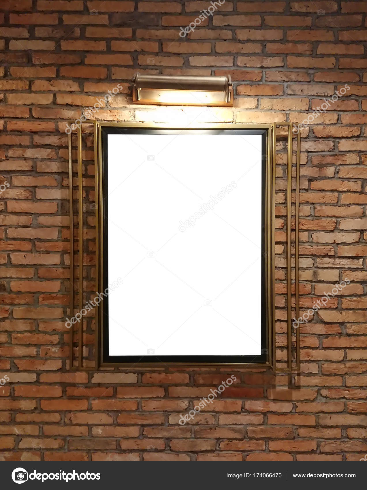 A Blank Frame On Brick Wall With Lamp Mockup Poster Marketing The Top View Photo By Ntdtdt2010gmail
