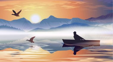 Vector illustration of a man floating in a boat on the lake stock vector
