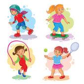 Fotografia Insieme delle icone di ragazze giocare a tennis, saltare la corda, pattinaggio