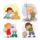 Fotografie Set Ikonen kleine Mädchen spielen mit Spielzeug
