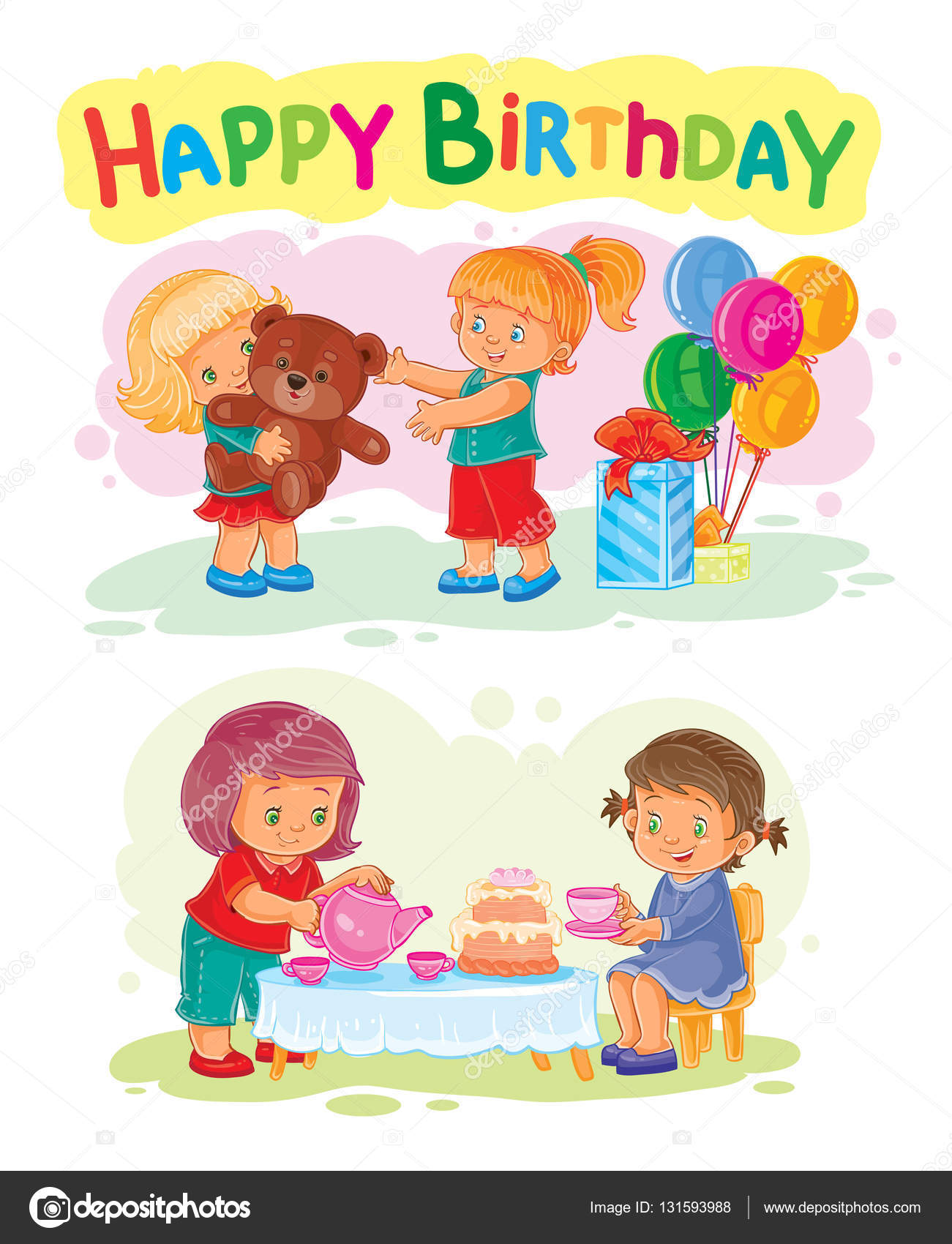 Template for happy birthday greeting card stock vector vector illustration of a little girl opens gifts template for happy birthday greeting card vector by vectorpocket kristyandbryce Image collections