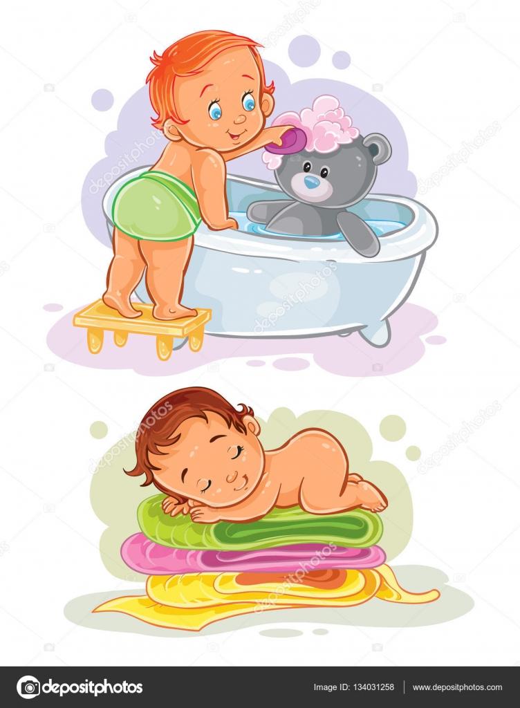 Dos ilustración de vector clip art en un niño pequeño baña su oso de  peluche b776c172c88