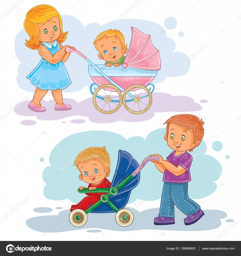 set clip art illustrations older brother and sister wheeled baby