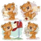 Umění ilustrace medvídek nastavit oříznutí a dopisy