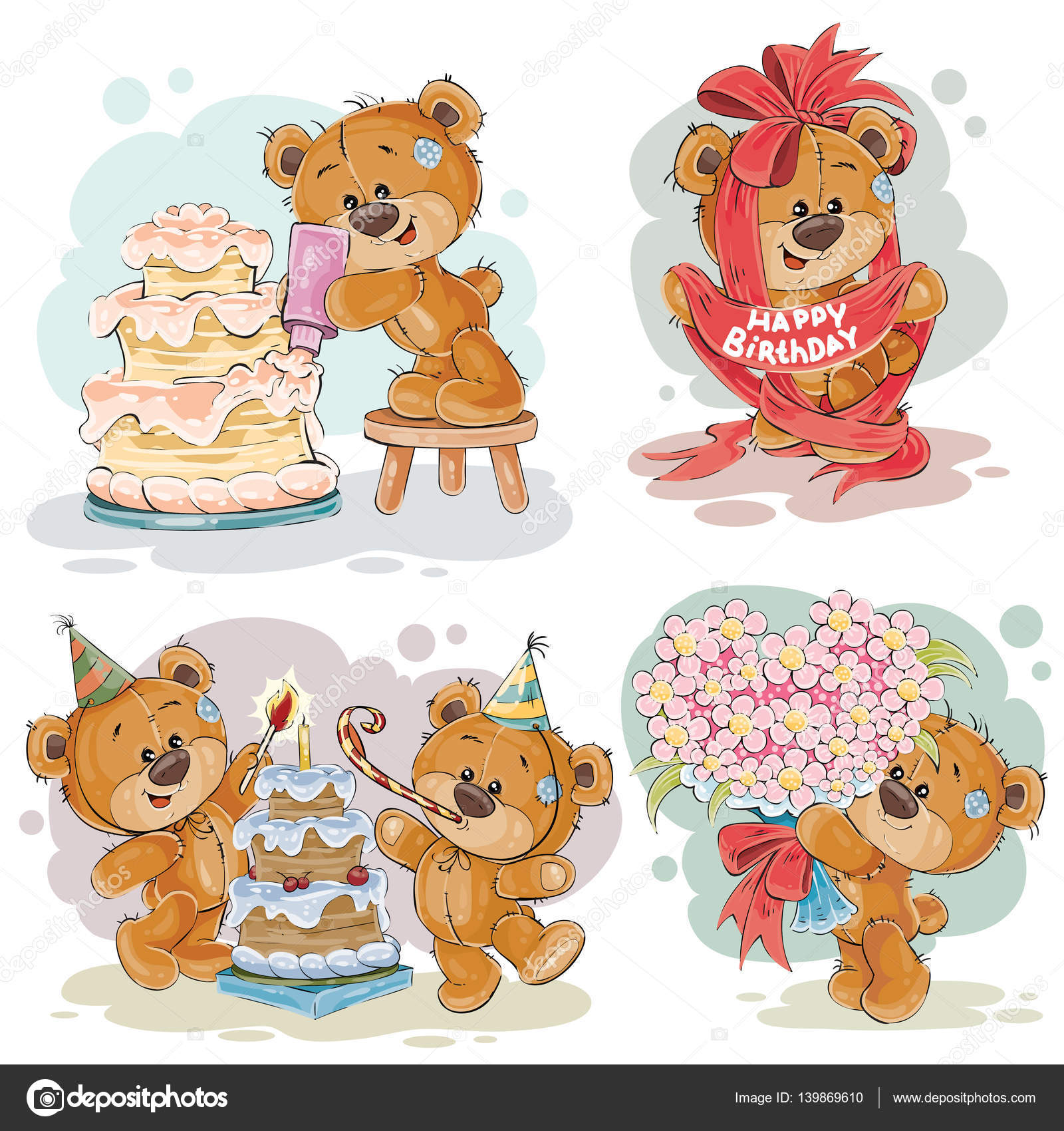 Clip Art Illustraties Van Teddybeer Wenst U Een Gelukkige Verjaardag