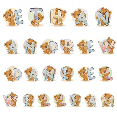Names for boys Ethan, Andrew, Daniel, William made decorative letters with teddy bears