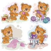 Sada vektorové ilustrace klip medvídky a jejich ruku služka hobby