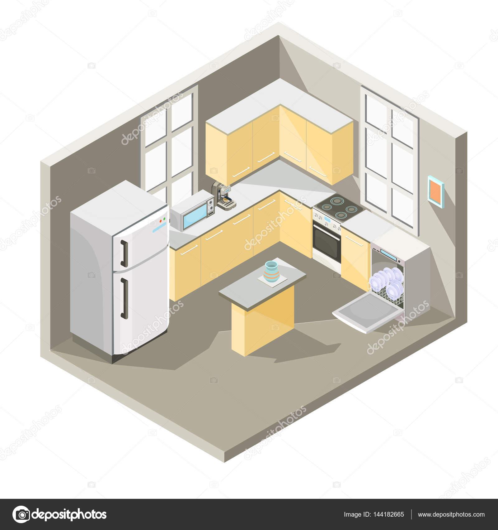Disegno isometrica di vettore di una cucina — Vettoriali Stock ...