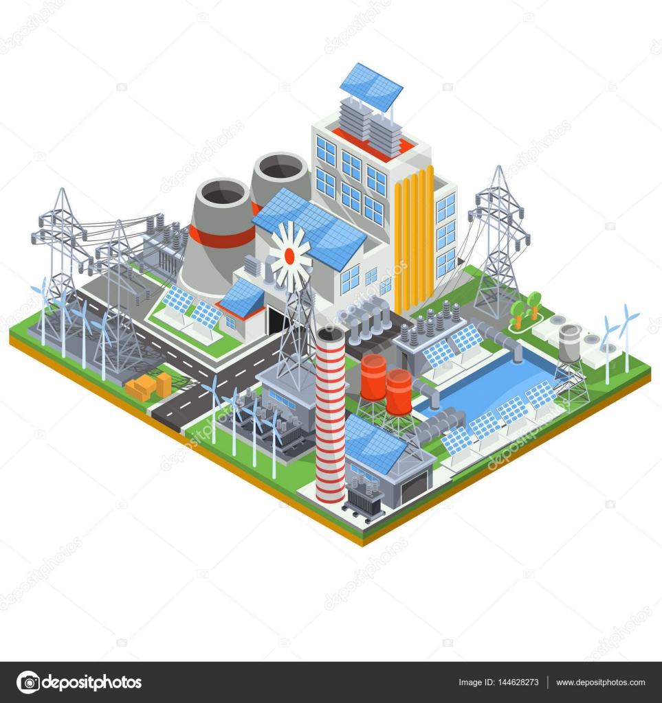Isometric vector illustration of a thermal thermal power plant