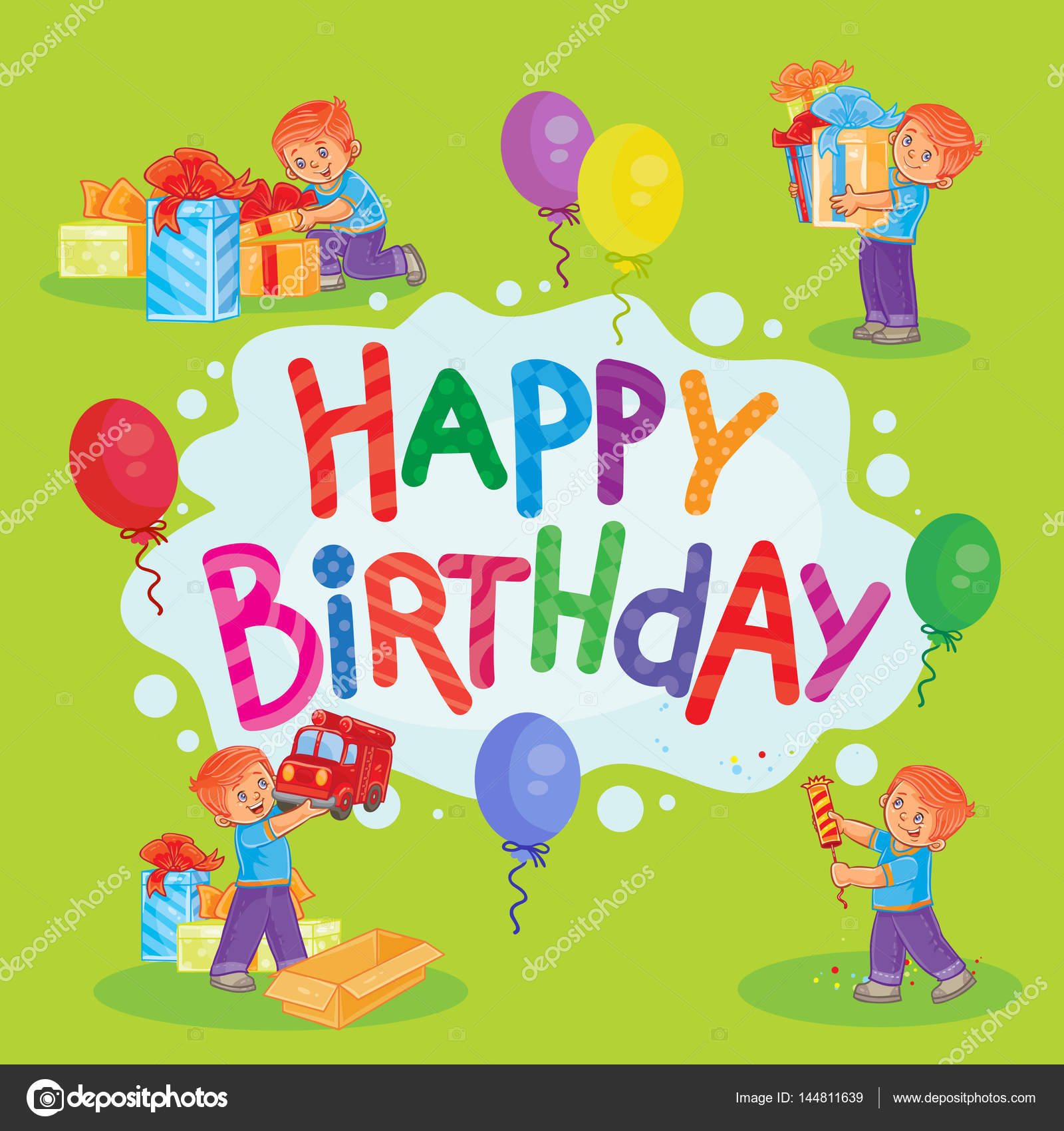 Template For Happy Birthday Greeting Card. U2014 Stock Photo  Happy Birthday Word Template