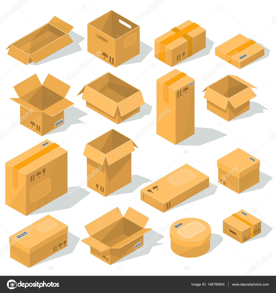 99f9f7fbc96 De kartonnen dozen van de vector van diverse soorten en maten met emblemen  van kwetsbaarheid op hen– stockillustratie
