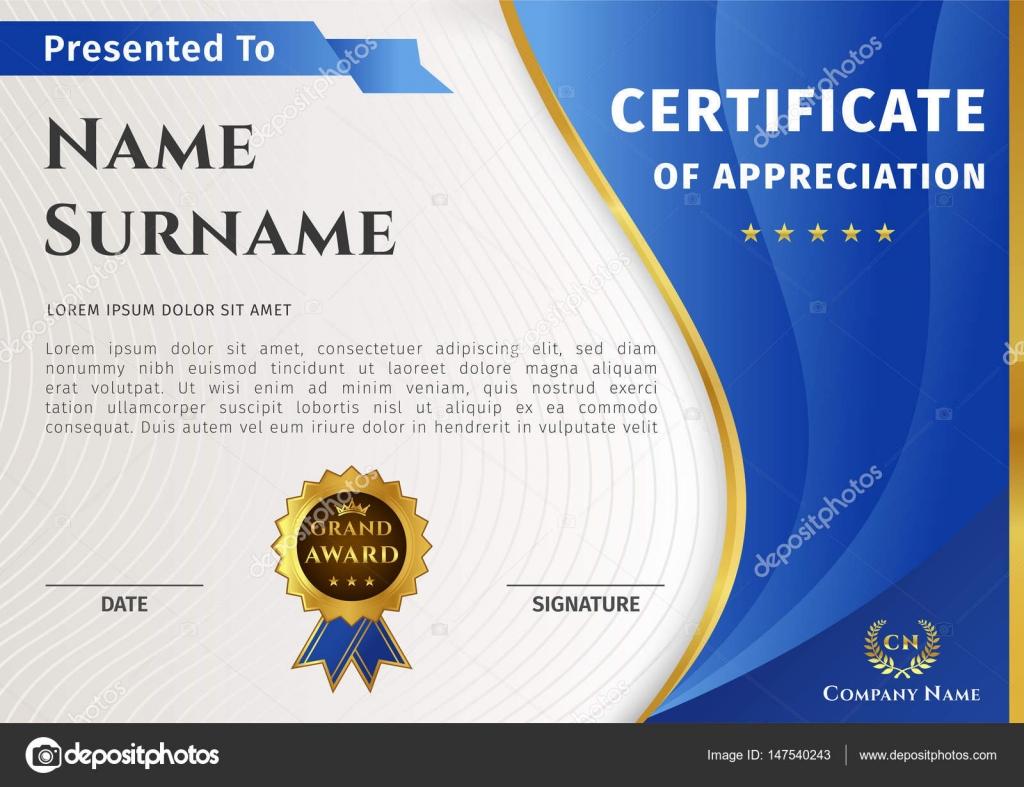 Vektor-Zertifikat-Vorlage mit blauen und goldenen Elementen und ...