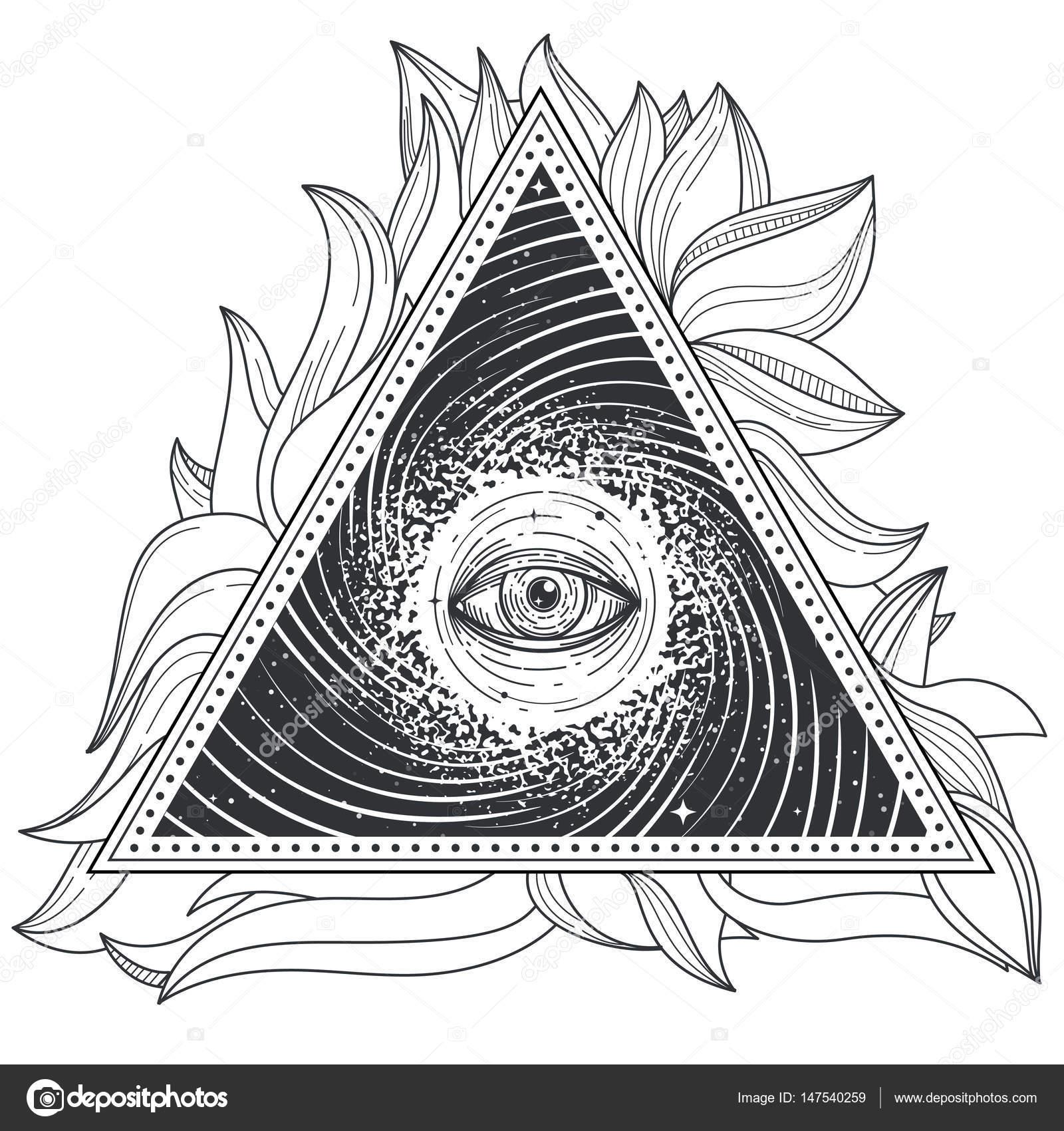 Geometrie Sacree Abstract Illustration Vectorielle Tatouage Avec Un