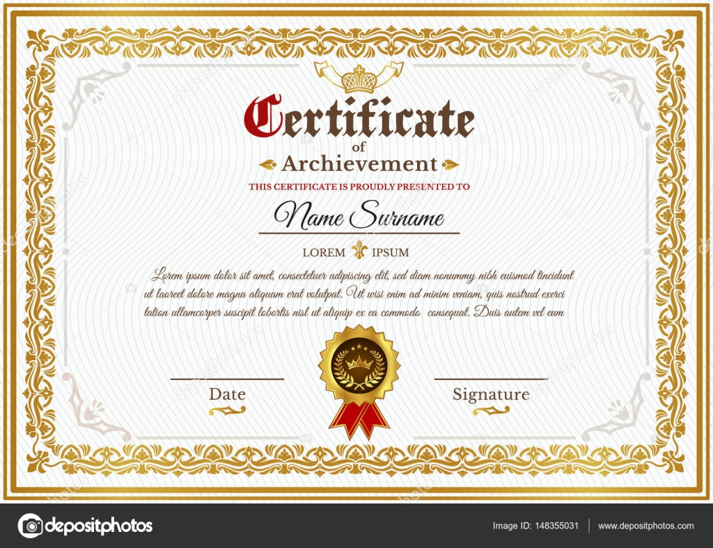 Vector Certificate Template With Golden Vintage Ornament Stock
