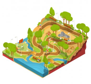 Vector 3D isometric illustration of cross section of a landscape park with a river, bridges, benches and lanterns.