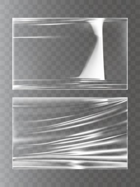 Vector illustrations of a plastic wrapping stretch film in a realistic style