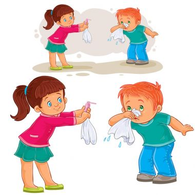 Vector little girl giving a handkerchief to a boy sick with snot, allergy