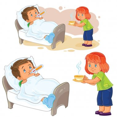 Vector little girl brought a hot drink to a little sick boy lying in bed.