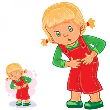 Vector little girl clings to her stomach