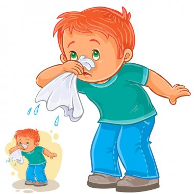 Sick little boy blowing his nose in a handkerchief, respiratory allergy