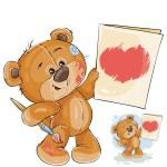 handgezeichnete pelzigen teddyb r mit herz in pfoten stockvektor 8897230. Black Bedroom Furniture Sets. Home Design Ideas