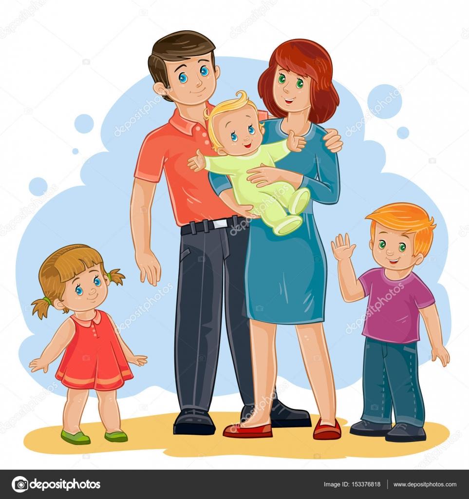 Счастливая семья в лесу - мама, папа и две девочки 9