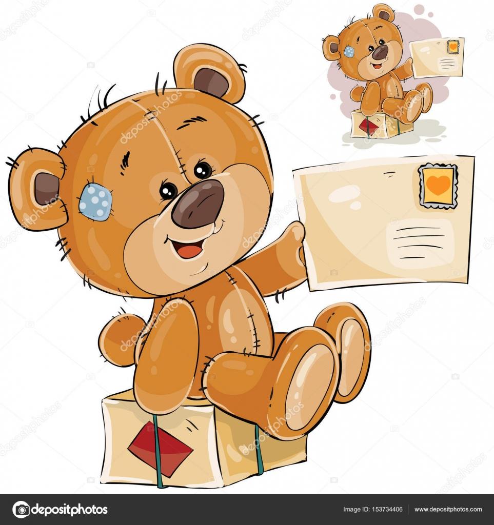 7016f5d2b3 Vektoros illusztráció egy barna mackó, ül egy postai csomagot, és a mancs  gazdaság kapott