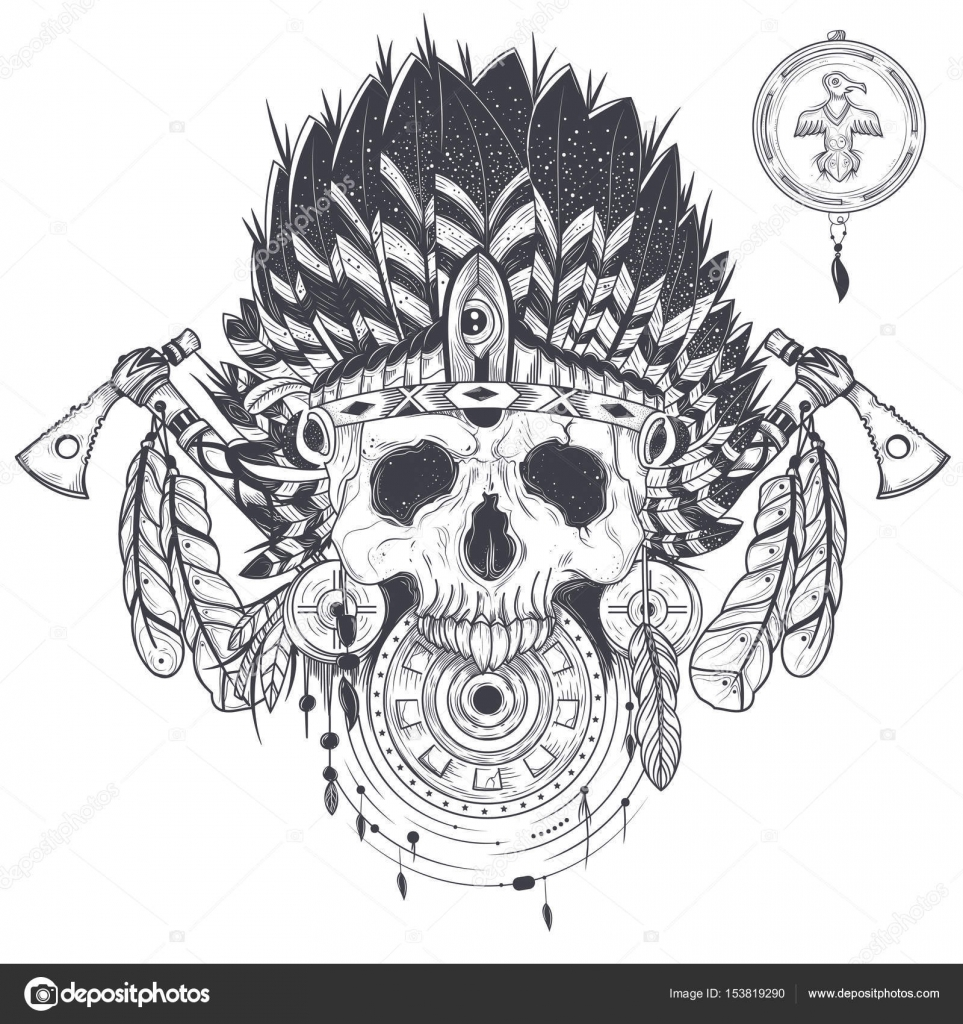 Vector illustration of a human skull in an indian feather hat ...